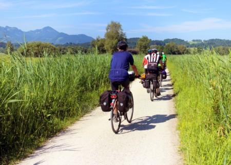 Radfahrer fahren auf einem Fahrradweg zwischen zwei Feldern entlang.