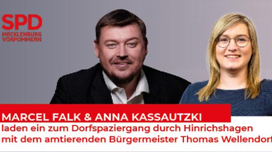 Marcel Falk und Anna Kassautzki laden ein zum Dorfspaziergang durch Hinrichshagen mit dem amtierenden Bürgermesiter Thomas Wellendorf