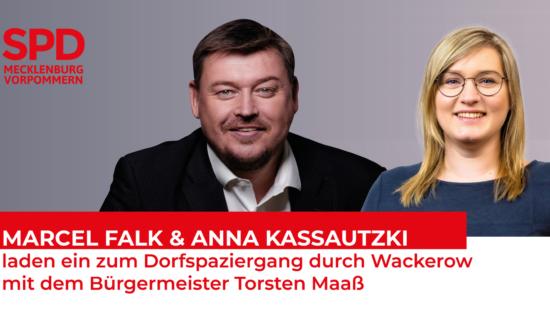 Marcel Falk und Anna Kassautzki laden ein zum Dorfspaziergang durch Wackerow mit dem Bürgermeister Torsten Maaß