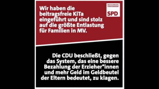 Wir haben die beitragsfreie KiTa eingeführt und sind stolz auf die größte Entlastung für Familien in MV. Die CDU beschließt, gegen das System, das eine bessere Bezahlung der Erzieher*innen und mehr Geld im Geldbeutel der Eltern bedeutet, zu klagen.
