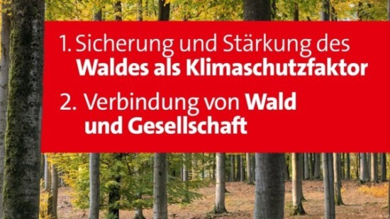 1. Sicherung und Stärkung des Waldes als Klimaschutzfaktor 2. Verbindung von Wald und Gesellscahft